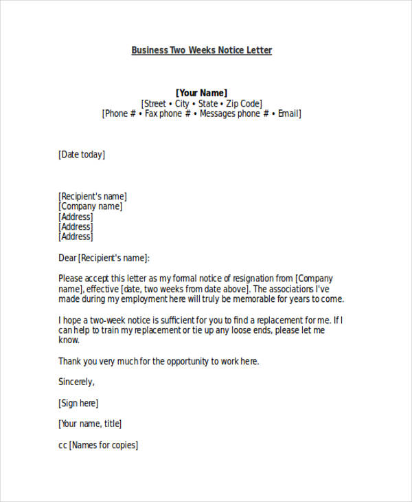 Business Two Weeks Notice Letter  Two Weeks Notice Letter