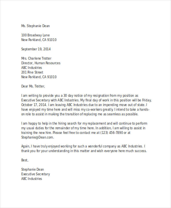 business resignation letter with 30 day notice