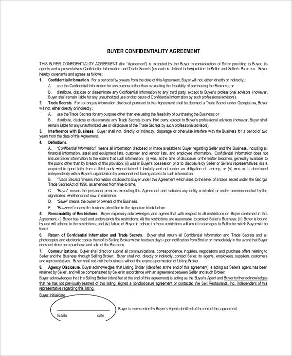 buying business confidentiality agreement