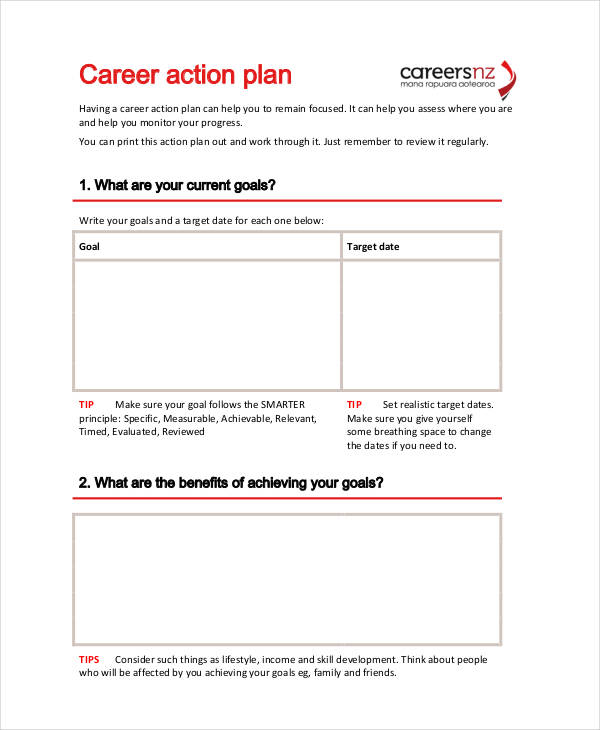 career goals action plan