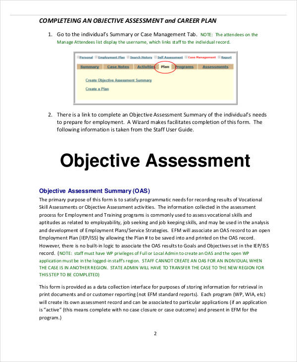 career objectives assessment