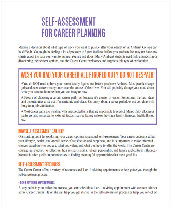 career planning self assessment1