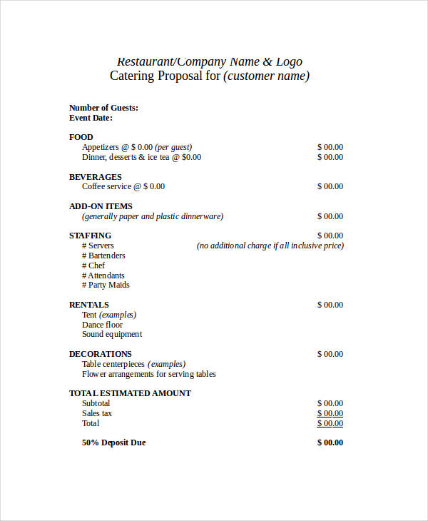 Catering Proposal  Proposal Template Catering Proposal