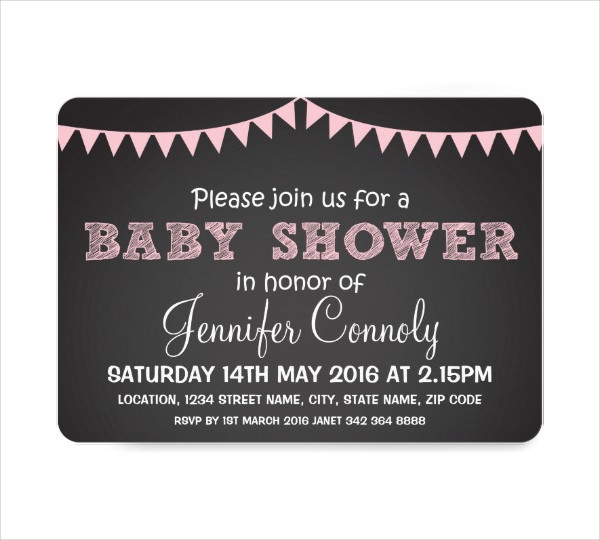 Chalkboard Girl Baby Shower Invitation