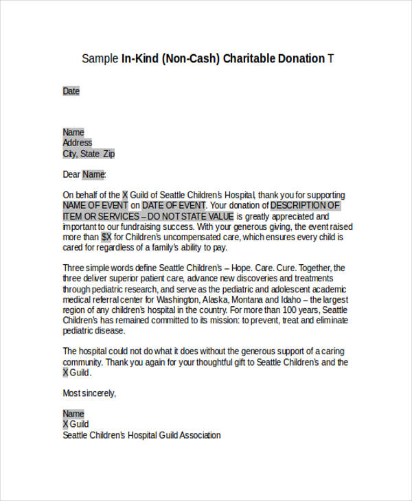 charitable donation acknowledgement letter