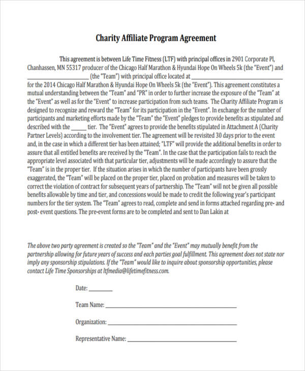 charity corporate partnership agreement