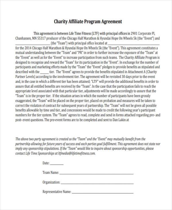 charity corporate partnership agreement