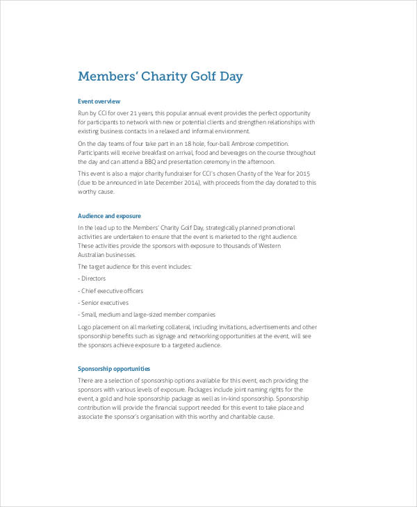 Charity Event Sponsorship Proposal  Informal Proposal Template