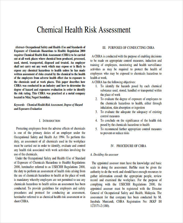 chemical health risk assessment