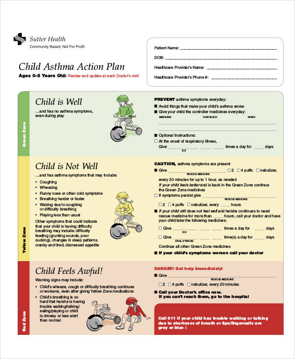 54 action plan examples pdf word for My asthma action plan template