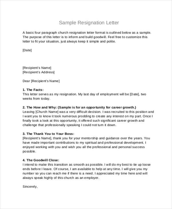 Church Board Resignation Letter  Sample Resignation Letters