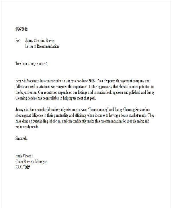 cleaning company recommendation letter