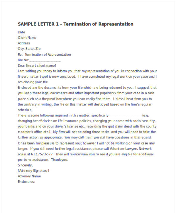 Termination Letter Examples