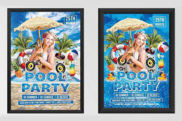 cocktail pool party flyer