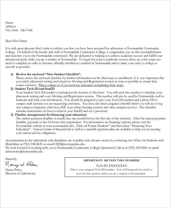 college admission acceptance
