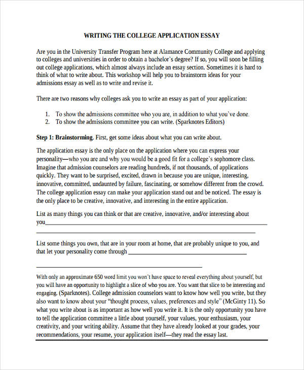 college admission application essay sample - University Essay Example