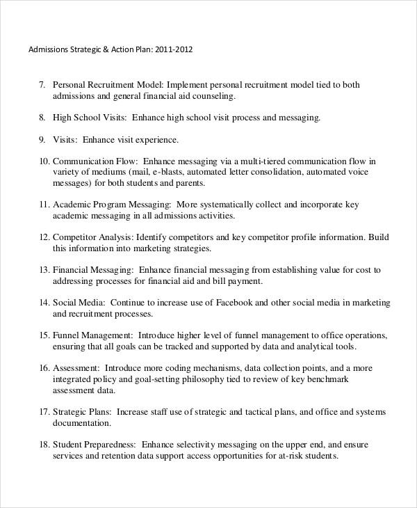 college admissions strategic plan