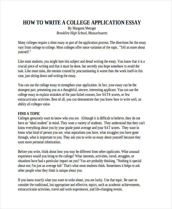 good example college application essay