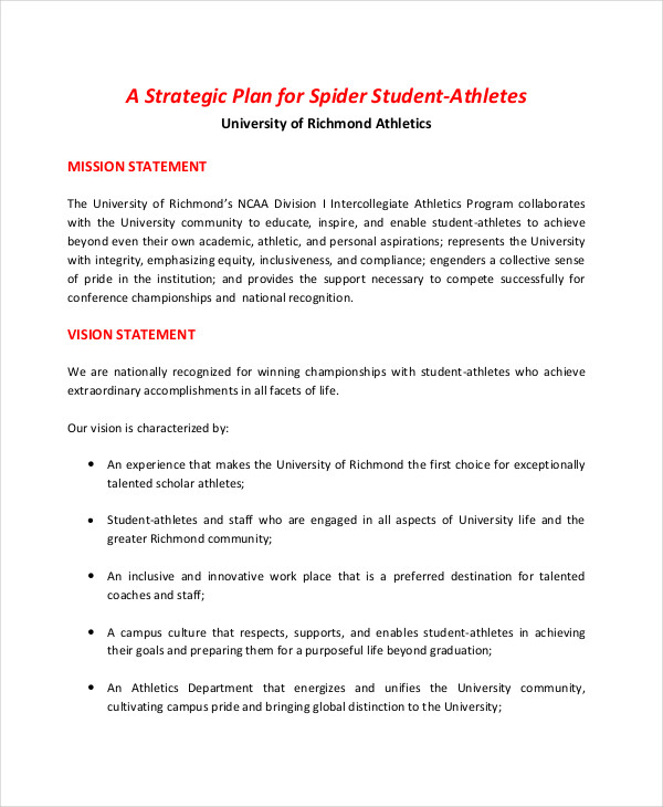 college athletics strategic plan