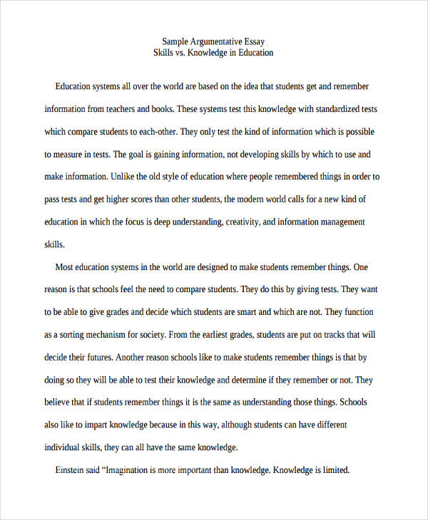 college education argumentative essay - Example Of Argumentative Essays