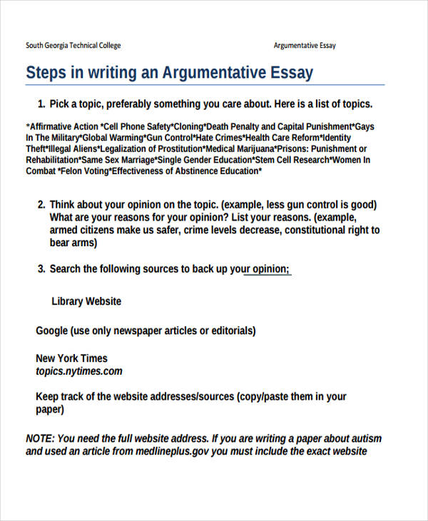 examples argumentative essays Looking for new topics for your essay take a look at our list of superb argumentative paper topics and get the best paper made by a professional.