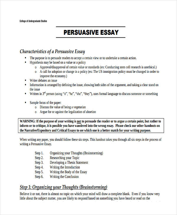 persuasive or argumentative essay examples A persuasive essay is a type of writing that attempts to convince the reader that the opinions being presented are right they are very similar to argumentative.