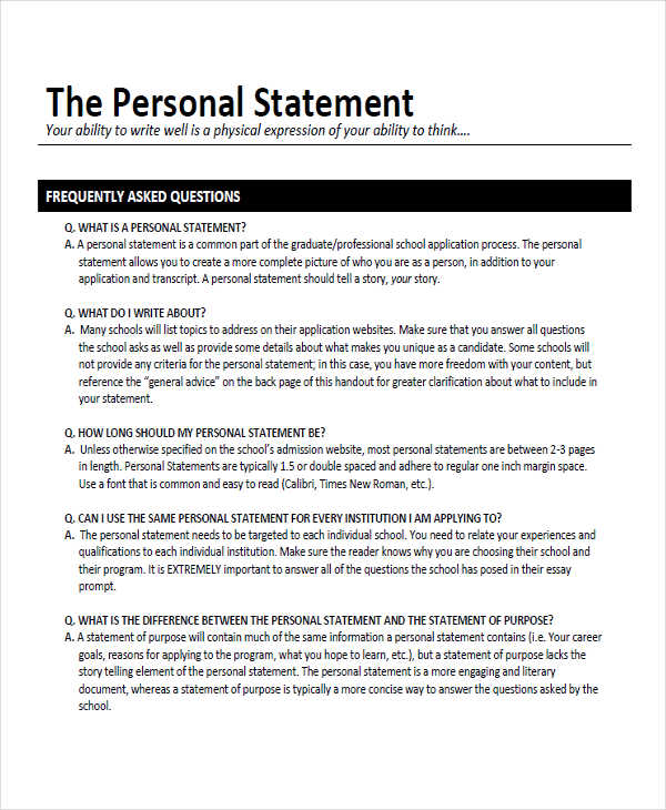 8+ Personal Statement Examples, Samples