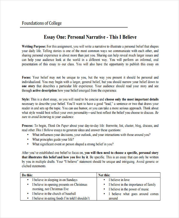 college personal narrative essay - Personal Narrative Essay Examples