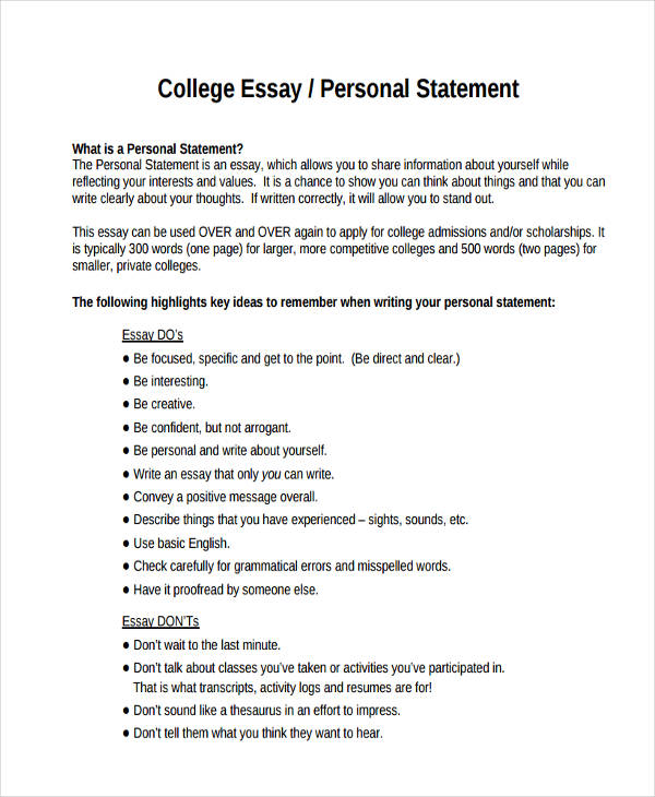 Personal essay samples for college