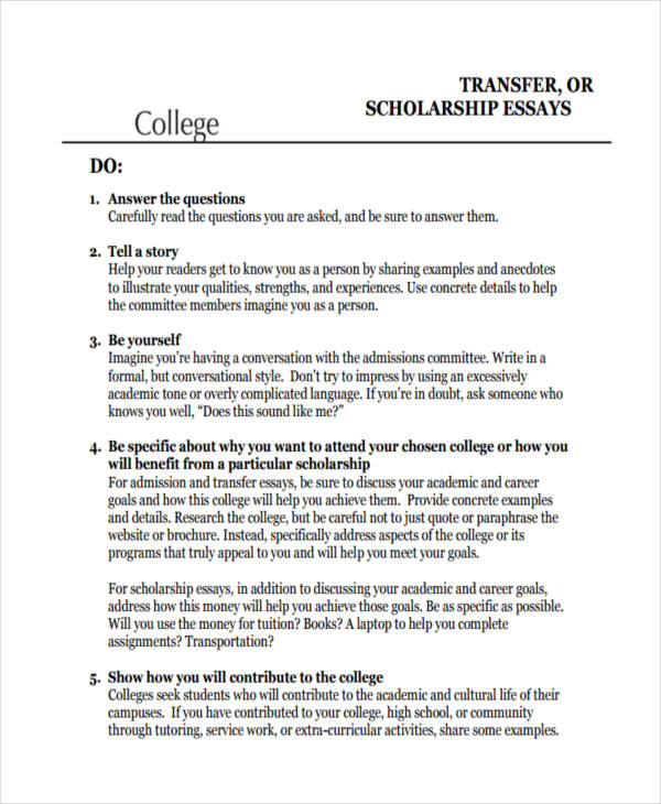 High School Scholarship Essay Examples Of College Essays Scholarship