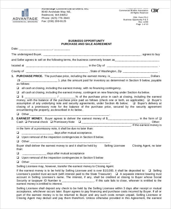 commercial business purchase agreement