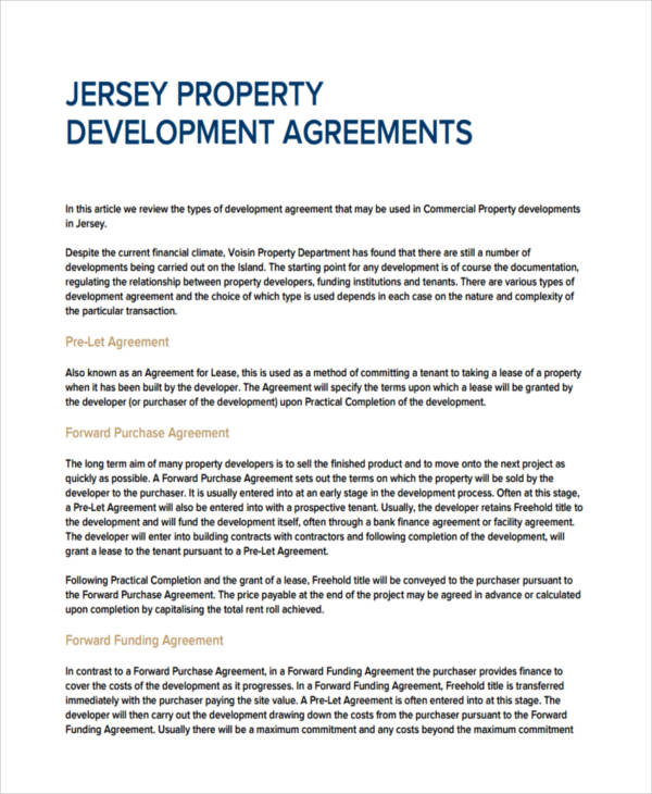 commercial property development agreement