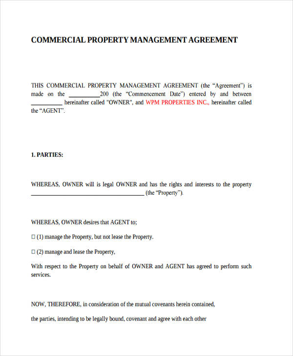 Genial Commercial Management Agreements. Commercial Property Management Agreement