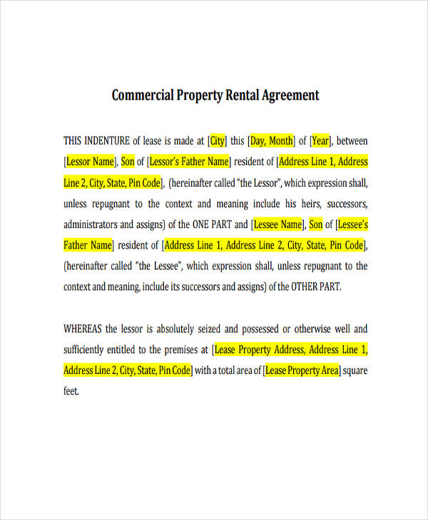 rent agreement examples