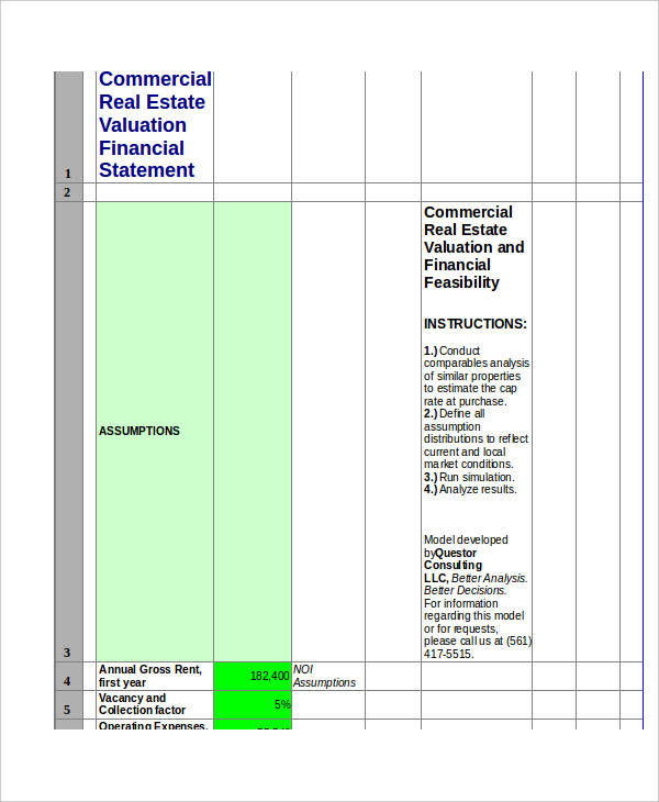 commercial real estate financial statement