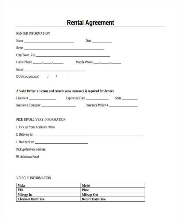 commercial vehicle rental agreement