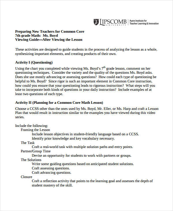 Common core lesson plan template tryprodermagenixorg common core examples of lesson plans common core math lesson plan template saigontimesfo