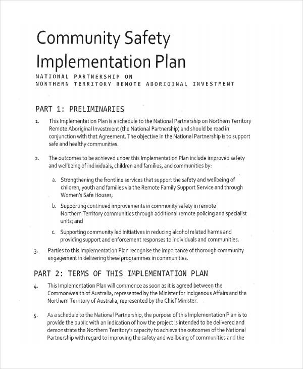 community safety implementation plan