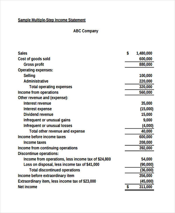company multi step income statement