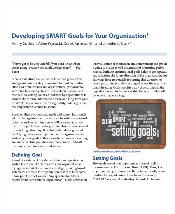 30 Smart Goals Examples Samples Pdf Doc