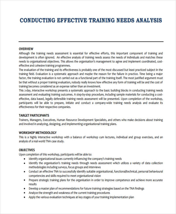 conducting training needs analysis