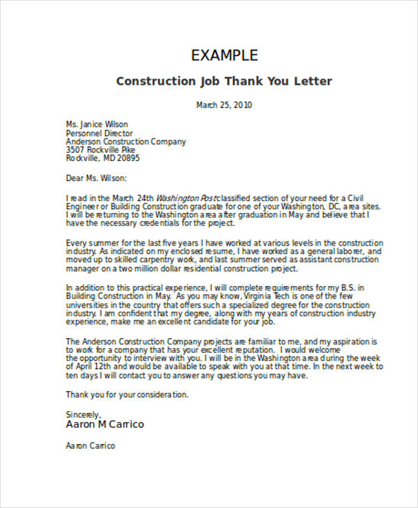 construction job thank you letter
