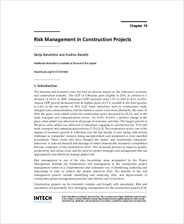 construction project risk plan
