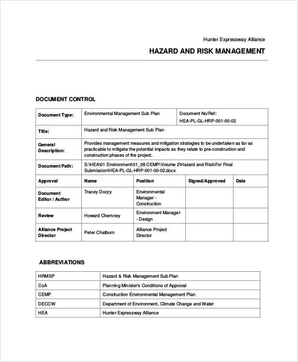 construction risk management plan
