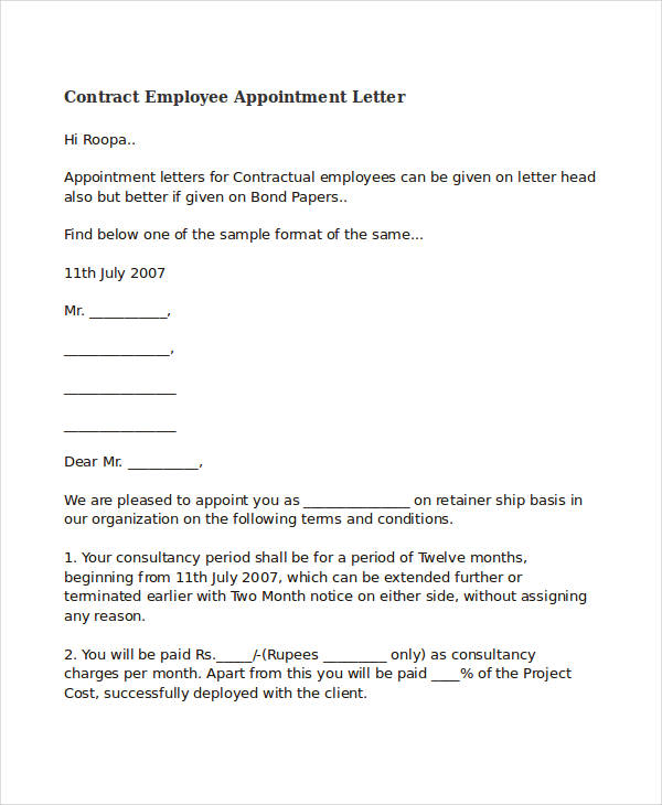 Contract Employee Appointment Letter  Letter Of Appointment