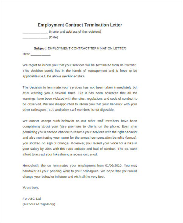 Employee Contract Termination Letter  Sample Contract Termination Letter