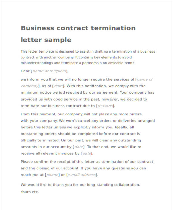 contract termination acknowledgement letter