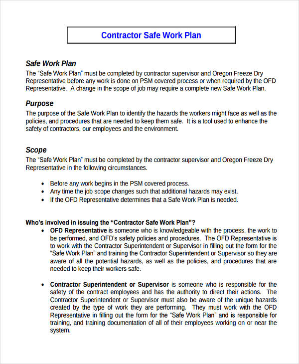 contractor safe work plan