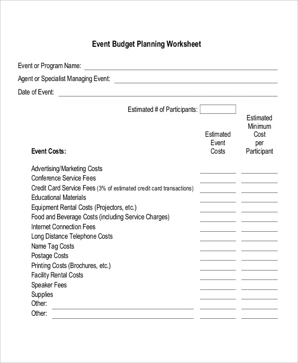 event planning business plan worksheet