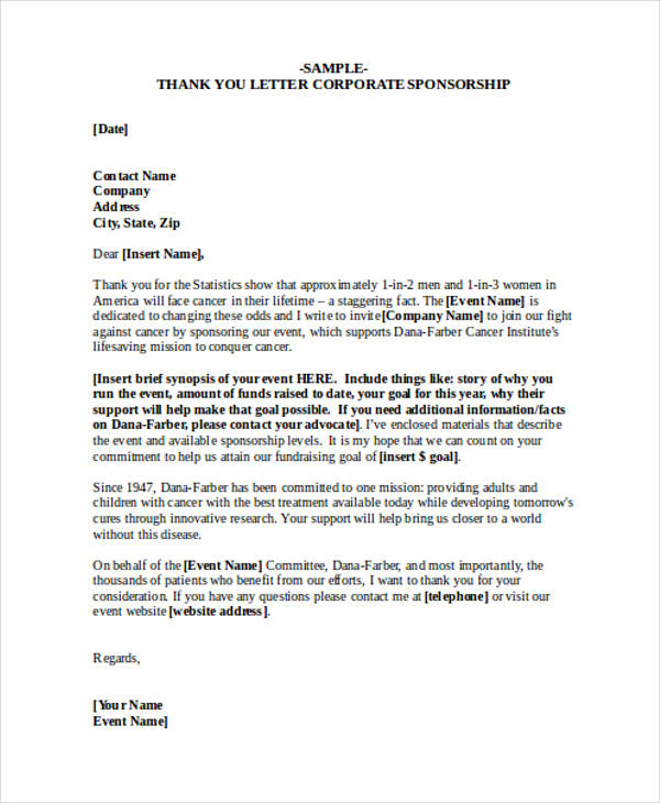 corporate sponsorship thank you letter